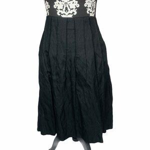 CAbi Skirt Black Pleated Pockets Mid Length Zip Up